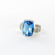 Lagos Signature Caviar Blue Topaz Ring 20mm Large 18K Sterling Sz 7 New ... - $1,348.29