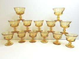 "13 Fostoria Jamestown Amber VTG 4.25"" Swirl Footed Champagne Sherbet Retro Glass - $78.87"