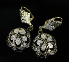 "Vintage Gold Tone Floral Dome Cup Dangle "" SPAIN "" Rhinestone Enamel Ear... - $19.08"