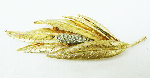 BSK rhinestone cattail pin gold tone leaves vintage jewelry - $9.41