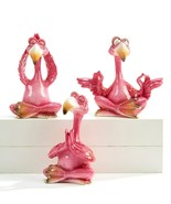 Set of 3 - Yoga Flamingo Design Figurines - Pink Poly Resin 3 Different ... - $74.24