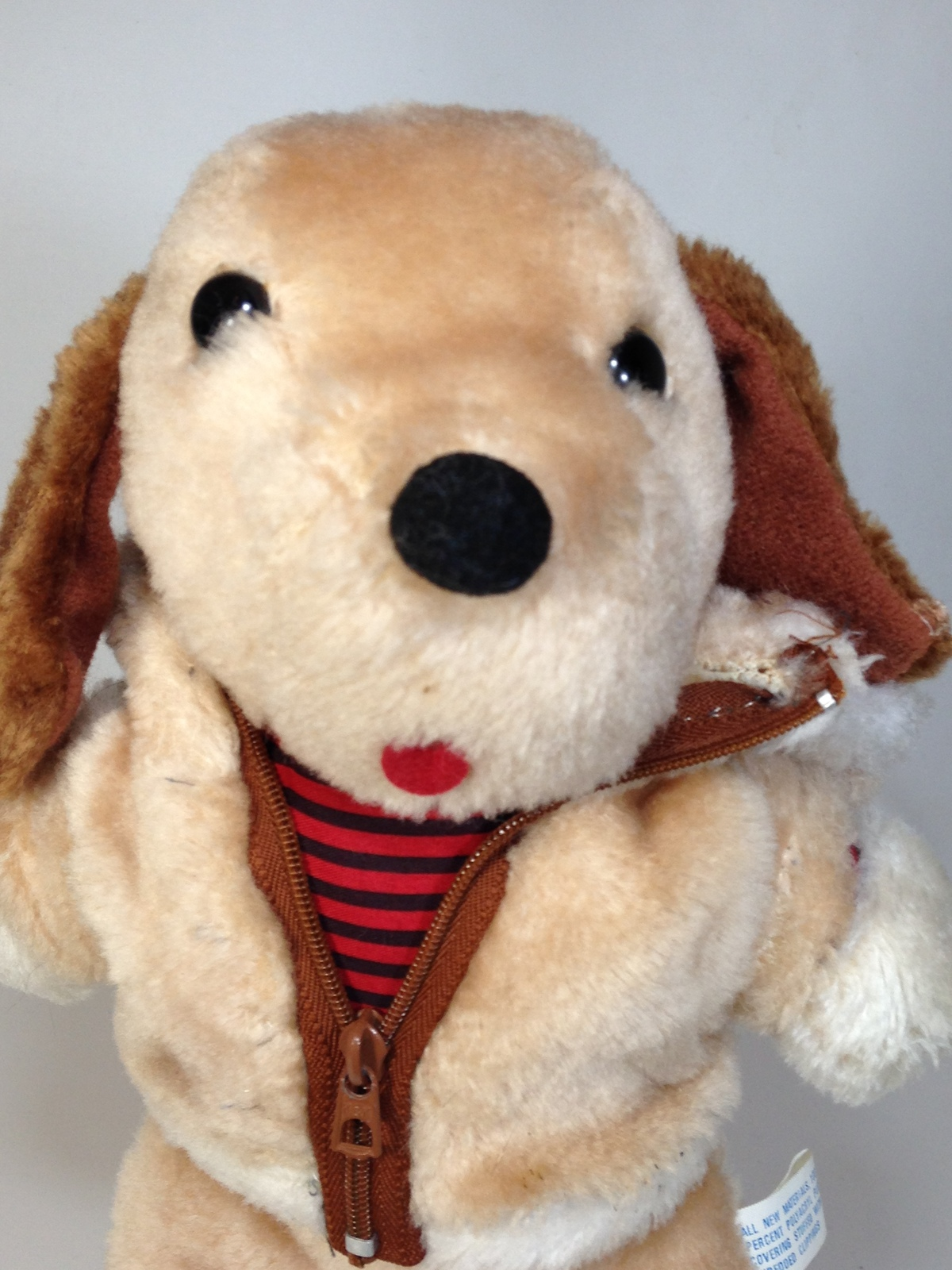 7884e2d30de08f Vintage Interpur Plush Dog Brown Stuffed Animal Puppy Zip Up Jacket Hoodie  12