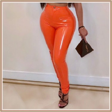 Bright Orange Tight Fit Faux Leather High Waist Front Zip Up Legging Pencil Pant