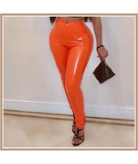 Bright Orange Tight Fit Faux Leather High Waist Front Zip Up Legging Pen... - $68.95