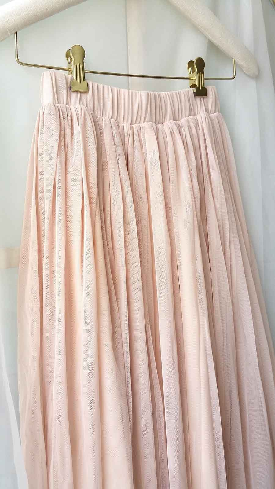 "Blush Long Tulle Skirt Blush Wedding Bridesmaid Skirt High Waisted 27.5"" long"