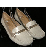 Naturalizer Gadget man made fabric gold slip on loafer wedge flats 6.5M ... - $29.22