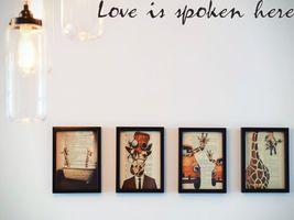 Love is spoken here Style 26 Long Die Cut Vinyl Decal Sticker - $8.95+