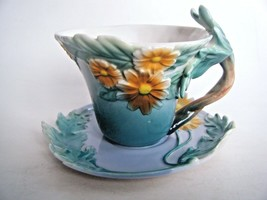 Tea Cup & Saucer Set Raised Daisy Pattern Aqua Blue & Yellow Unmarked - $17.77