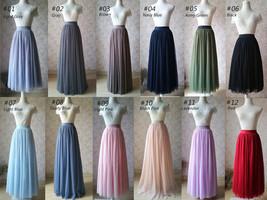 Dusty Blue Pleated Tulle Skirt Plus Size High Waist Pleat Bridesmaid Long Skirt image 8