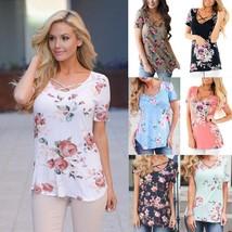 5XL Large Size Spring Summer 2018 Women T-shirt Short Sleeve V-Neck Prin... - $20.00