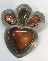VINTAGE Sterling Silver Amber Opal Brooch Pin by Great Falls Metal Works... - $147.51