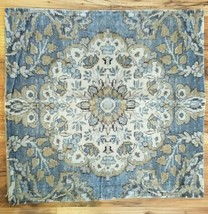 Pottery Barn Printed VELVET Pillow Cover 22x22 Blue & Natural Colors NWO... - $49.99