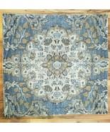Pottery Barn Printed VELVET Pillow Cover 22x22 Blue & Natural Colors NWO... - $49.99