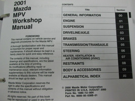 2001 Mazda MPV Van Workshop Service Repair Shop Manual OEM FACTORY - $143.50