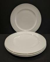 """Mikasa Trellis White 9"""" Bone China Salad Luncheon Plates Set of Four New - $47.52"""