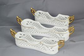 Porcelain Treasures White Gold 3 Pc Pierced Utensil Flatware Silverware ... - $54.44