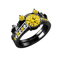 14K Black Gold Over Citrine & Diamond Mickey Mouse Bridal Engagement Ring Set - $95.12