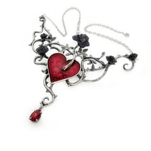 Alchemy Of England P630 Bed Of Blood Roses Necklace Gothic Heart Large Red - $98.99