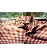 Bobby Jones Large long sleeve Orange/White Italian Casual Shirt Free Conus Ship - $34.60