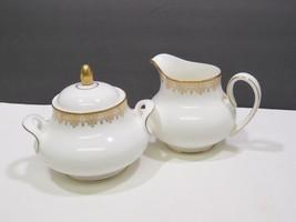 Royal Doulton Gold Lace Covered Sugar Bowl and Creamer - $49.50