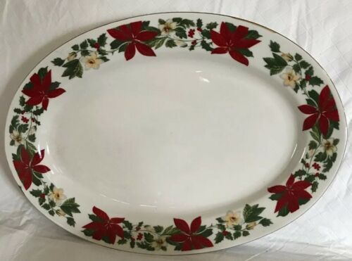 Gibson China Poinsettia Serving Platter Oval Tray Vegetable Bowl Holiday Decor image 4