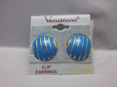 VTG New Old Stock Vendome 1980's Gold Tone Blue Enamel Disc Circle Clip Earrings