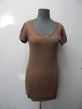 SPLENDID Dark Brown Cotton Short Sleeves Solid Scoop Neck Top Tunic Sz M... - $29.69
