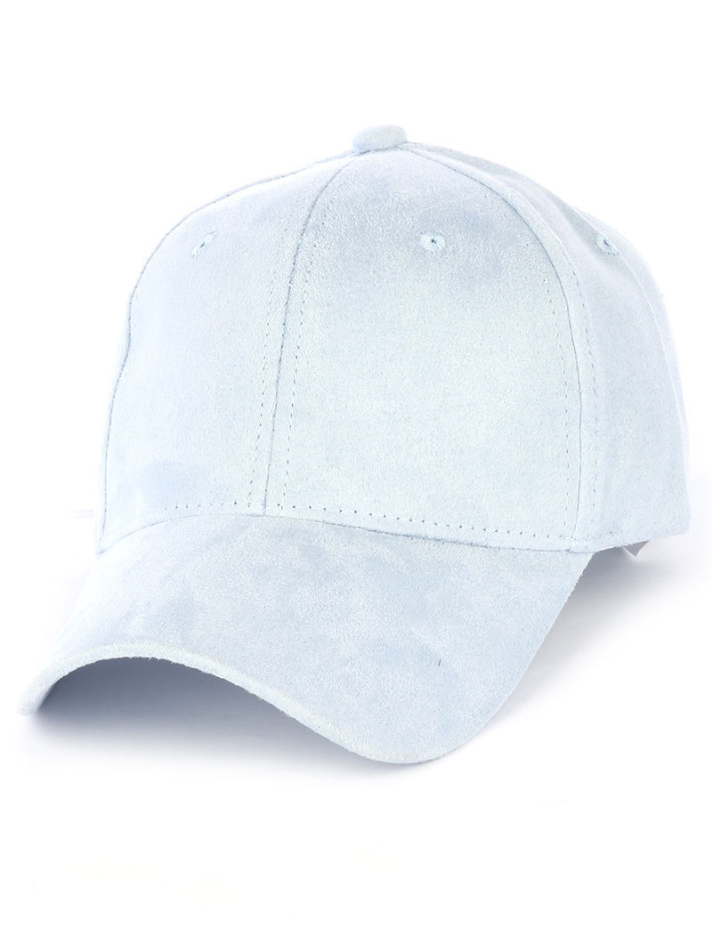 Solid Colored Baseball Cap Fashion Hat - Faux Suede Light Blue