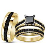 Black Diamond Engagement Ring & His Her Wedding Band Trio Set 925 Solid ... - $152.99