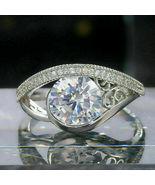 3.00Ct Round Cut White Diamond Designer Engagement Ring 925 Sterling Silver - $81.81