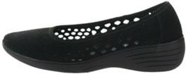 Skechers Kiss Laser-Cut Skimmer Wedges Black 8.5M NEW A349642 - $49.48
