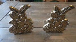 Vintage Brass Flower Bookends 5.5 x 4.25 inches - $79.19