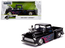 "1955 Chevrolet Stepside Pickup Truck with Blower Glossy Black with Flames ""Just - $34.30"