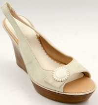 Cole Haan Wedge Beige Suede Slingback Women's Sandals Sz 8 M Shoes EUC - $55.57