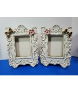 Rare Pair of Vintage Porcelain Picture Frames with a pink rose and gold bow - $44.55