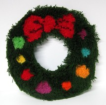"Midcentury Handmade Christmas Wreath Latch Hook Large 18"" Red Bow Color ... - €33,92 EUR"