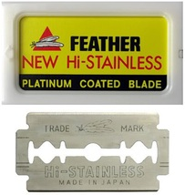 1 PACK 10 FEATHER Razor Blades NEW Hi-Stainless Double Edge - $6.75