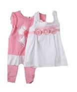 Precious Little Girls Pink & White 3 Pc Boutique Lace Tops/Leggings Set ... - $49.99