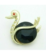 Red Clear Blue Rhinestone Belly Swan Gold Tone Vintage Pin Brooch - $29.69