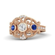 Round white sapphire 14k rose gold ring with sapphire and diamond thumb200