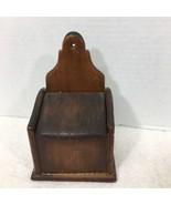 """Vintage Primitive Wood Kitchen Salt Box Match Holder Wall Mount 6 7/8"""" L... - $32.18"""