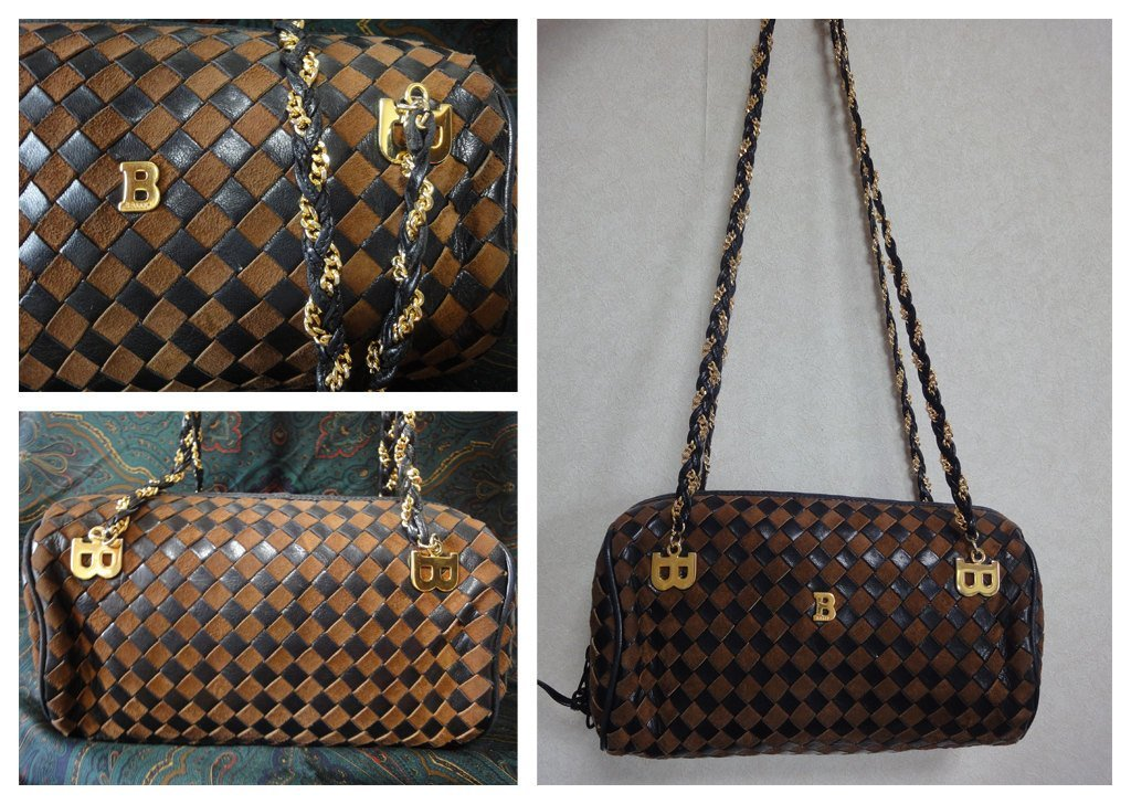 Vintage Bally brown and dark brown intrecciato leather drum shape bag with chain image 3