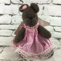 Teddy Bear Plush Decor Rustic Angel Wings Pink Gingham Dress Stuffed Animal  - $11.88