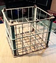 Vintage Metal Milk Crate Steel Wire Bottle Crate Carrier HOME JUICE Co S... - $17.51