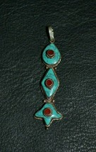Vintage Tibetan 925 Sterling Silver Turquoise and Coral Pendant - $49.40