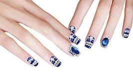 22 PCs Wedding Charming Style Makeup Set DIY 3D Design False Nails, Blue