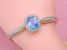ANTIQUE VICTORIAN 6.5 ct CEYLON SAPPHIRE 1.35ctw DIAMOND BANGLE BRACELET... - $7,379.46