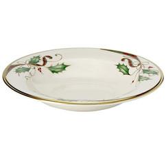 "Lenox Holiday Nouveau Rim Soup Pasta Bowl 9"" Ivory/Gold Trim USA New - $49.90"