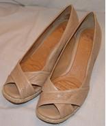 Nurture Womens Light Brown Wedge Heels 9 1/2 M 9.5 Shoes Antonia Peep To... - $46.20