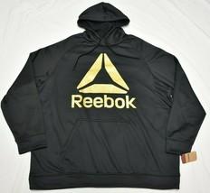 Reebok Hoodie Sweatshirt Men's Gold Delta Logo Pullover Black Activewear... - $29.95